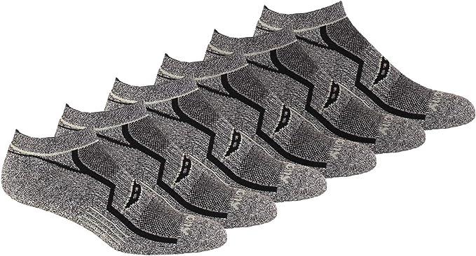 Saucony Men's Multi-Pack Bolt Performance Comfort Fit No-Show Socks, Grey Black (6 Pair), Shoe Size: 8-12