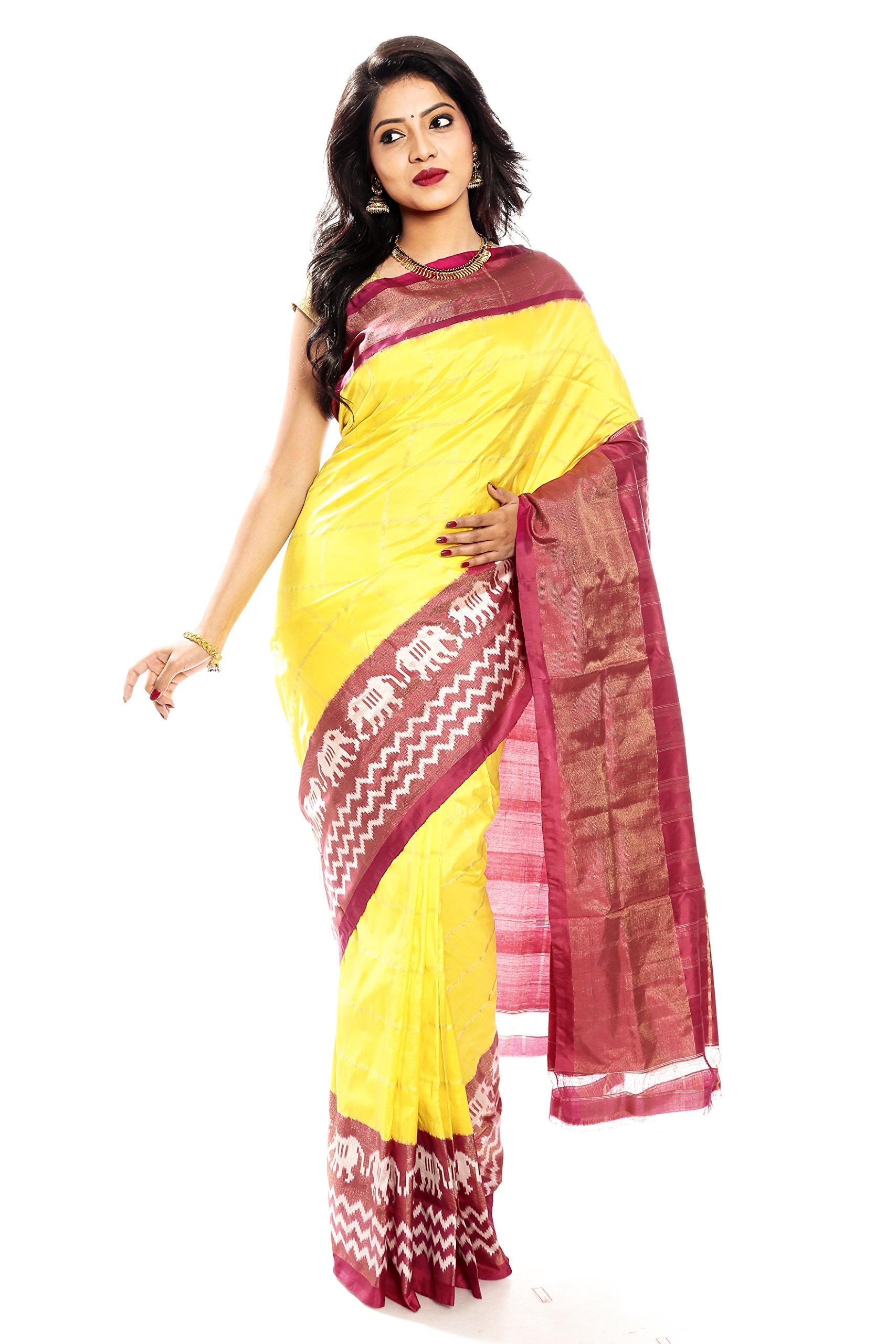 Mandakini — Indian Women's Pochampally - Handloom - Ikat Pure Silk Saree (Yellow ) (MK315)