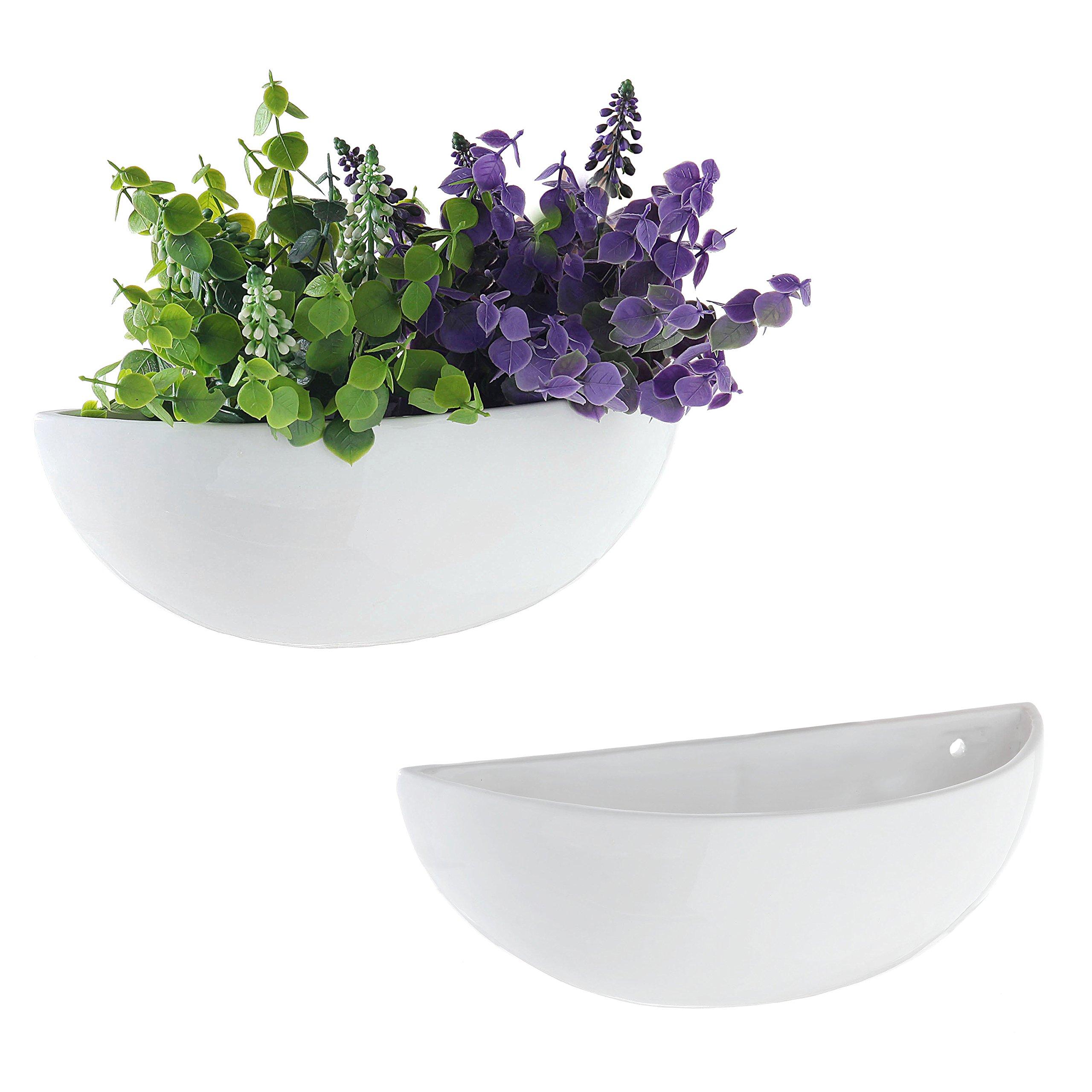 MyGift 12-Inch Ceramic Half-Moon Wall Mounted Flower Planter Vase, Set of 2