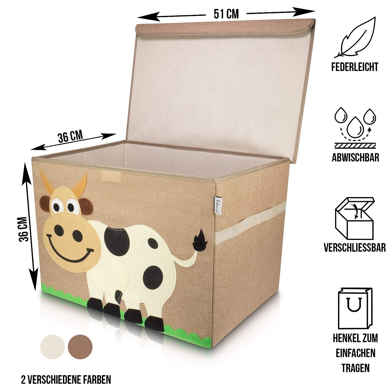 Lifeney Aufbewahrungsbox Kinder 51 x 36 x 36 cm I Kiste mit Deckel f/ür Kinderzimmer I Aufbewahrungsbox mit Deckel f/ür Kindersachen I Boxen Aufbewahrung mit Tiermuster I Spielzeug Aufbewahrung Hippo