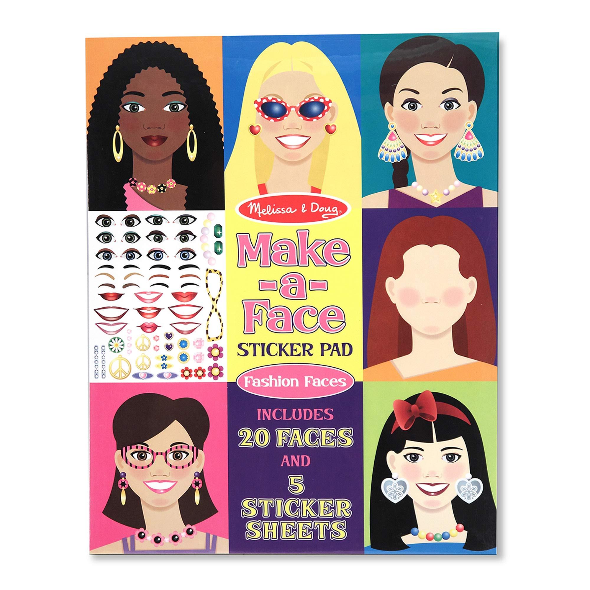 Melissa & Doug Make-a-Face Sticker Pad - Fashion Faces