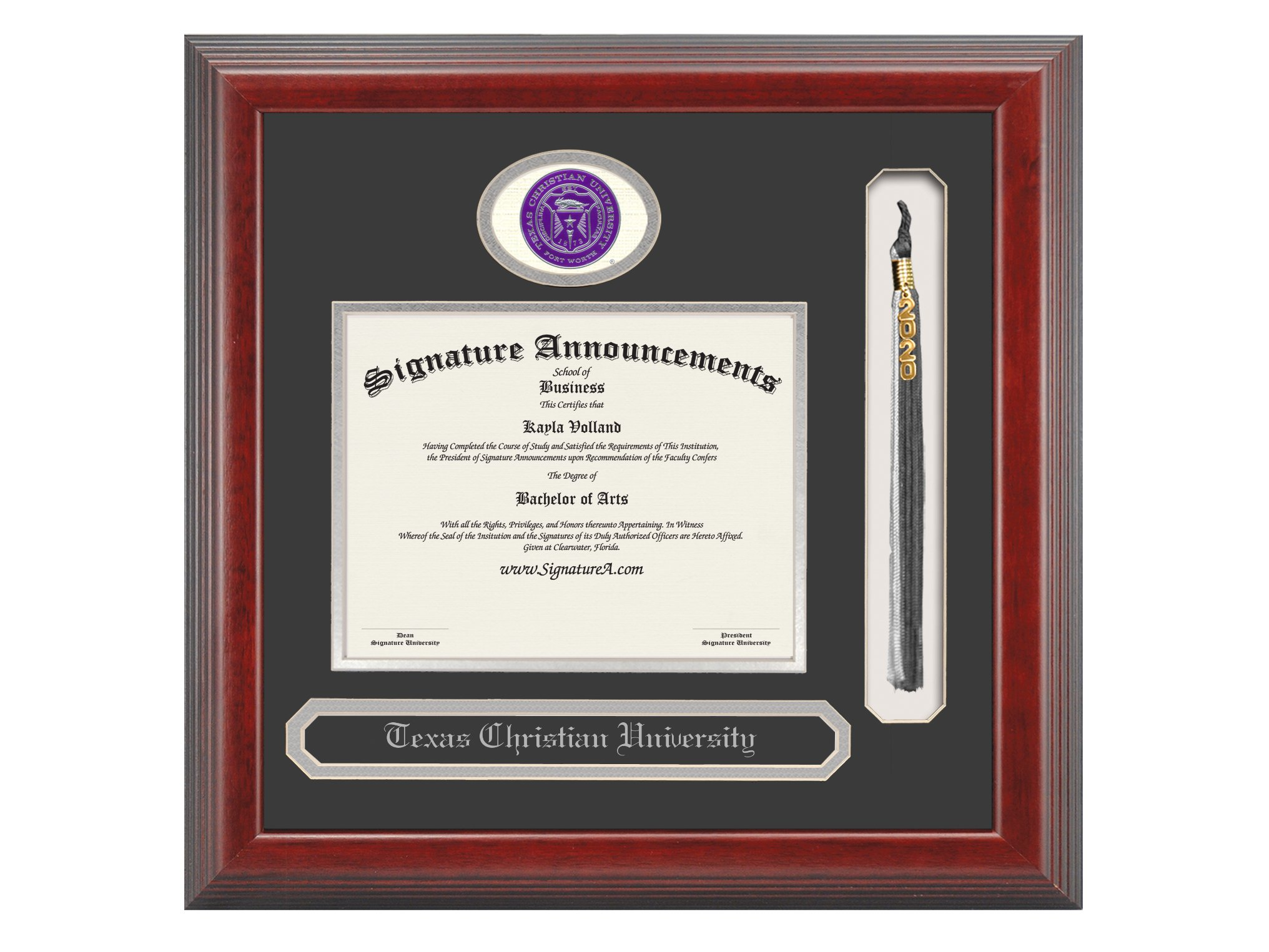 Signature Announcements Texas Christian University (TCU) Undergraduate and Graduate/Professional/Doctor Graduation Diploma Frame with Sculpted Foil Seal, Name & Tassel (Cherry, 16 x 16) by Signature Announcements