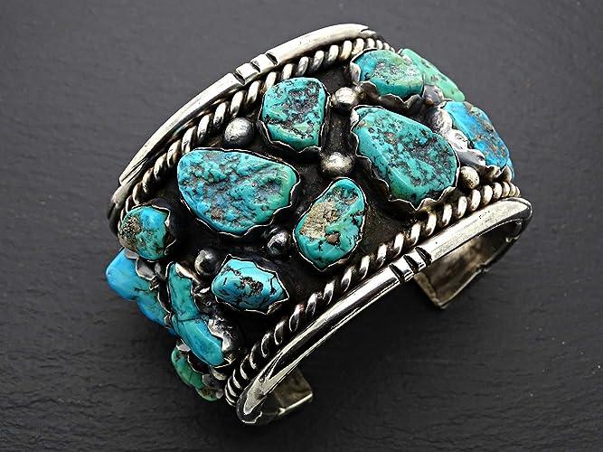 f4f13a95115 Amazon.com: big mens cuff silver turquoise, Navajo cuff bracelet Kingman  turquoise cuff, turquoise cuff bracelet silver, Native American silver  jewelry: ...