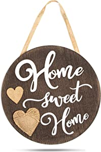 Farmlyn Creek Hanging Burlap and Wood Welcome Sign, Home Sweet Home (11.75 x 11.75 Inches)