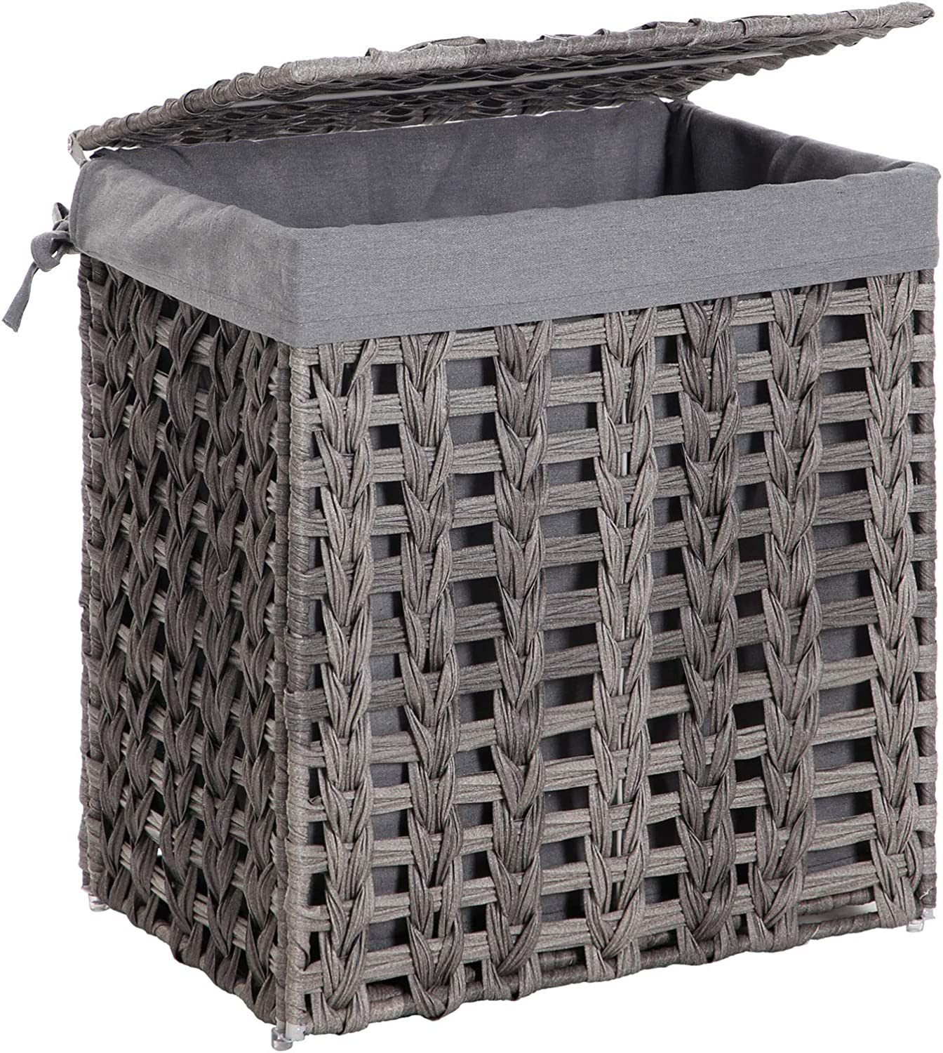 SONGMICS Handwoven Laundry Hamper, Rattan-Style Laundry Basket with Removable Liner Bag, Lid, Metal Frame, 17.9 x 12.6 x 20.3 Inches, for Living Room, Bathroom, Gray ULCB50GW