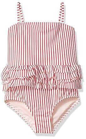 2370d42e61de Roxy Little Girls' Cute Travel One Piece Swimsuit, Marshmallow Swim Wavy  Stripe, ...