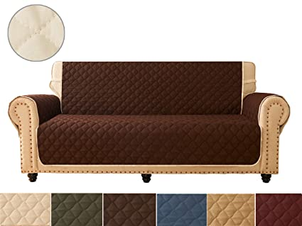 Sensational Ameritex Sofa Cover Reversible Quilted Furniture Protector Ideal Loveseat Slipcovers For Pets Children Water Resistant Double Line Checkered Theyellowbook Wood Chair Design Ideas Theyellowbookinfo