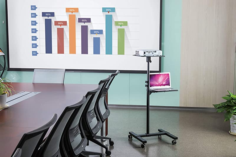 TechOrbits Mobile Projector Stand – Rolling Height Adjustable Laptop and Projector Cart On Wheels – Black Presentation Trolley