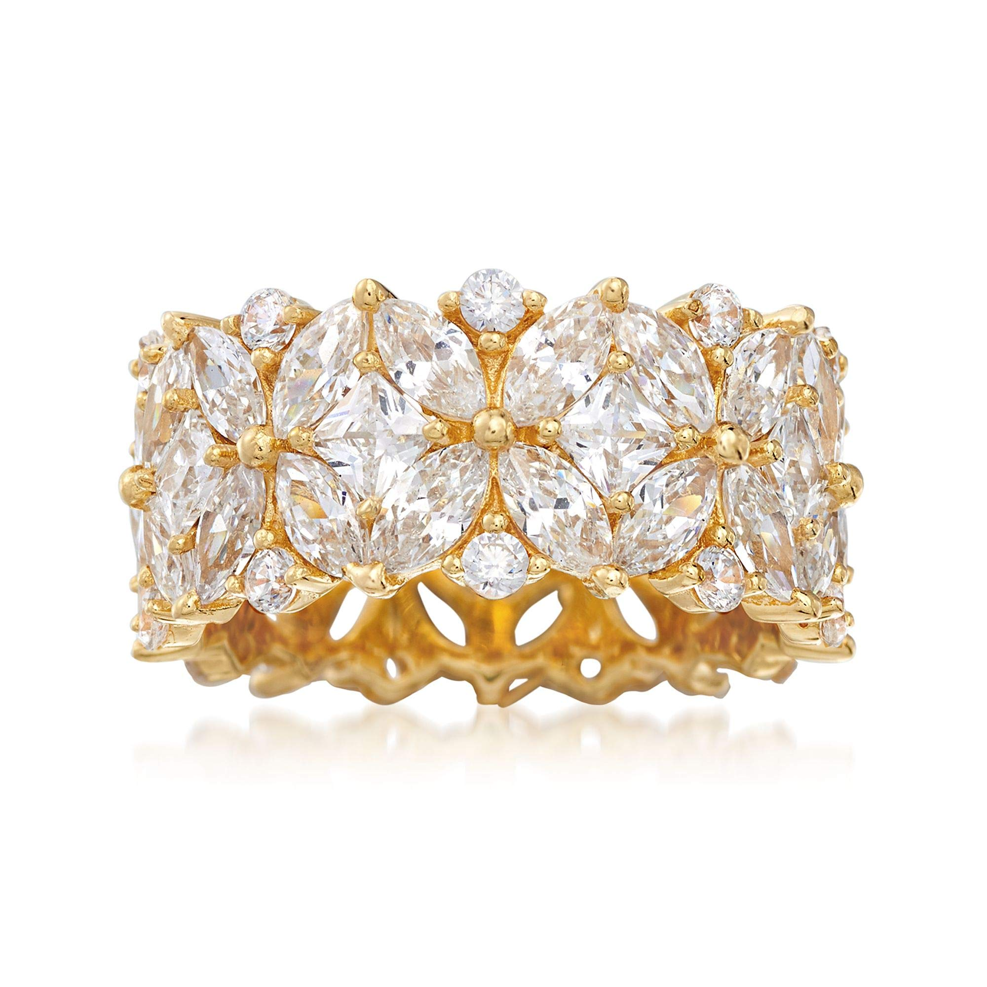 Ross-Simons 7.30 ct. t.w. Multi-Cut CZ Floral Eternity Band in 18kt Gold Over Sterling
