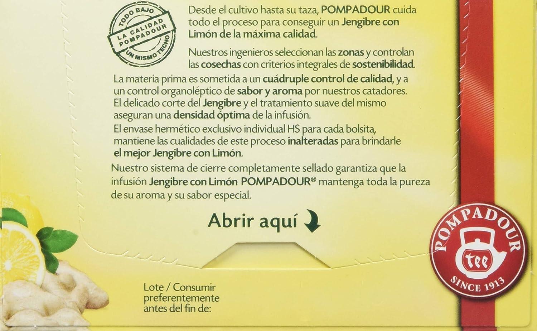 Pompadour Té Infusion Jengibre con Limón - 20 Bolsitas: Amazon.es: Amazon Pantry