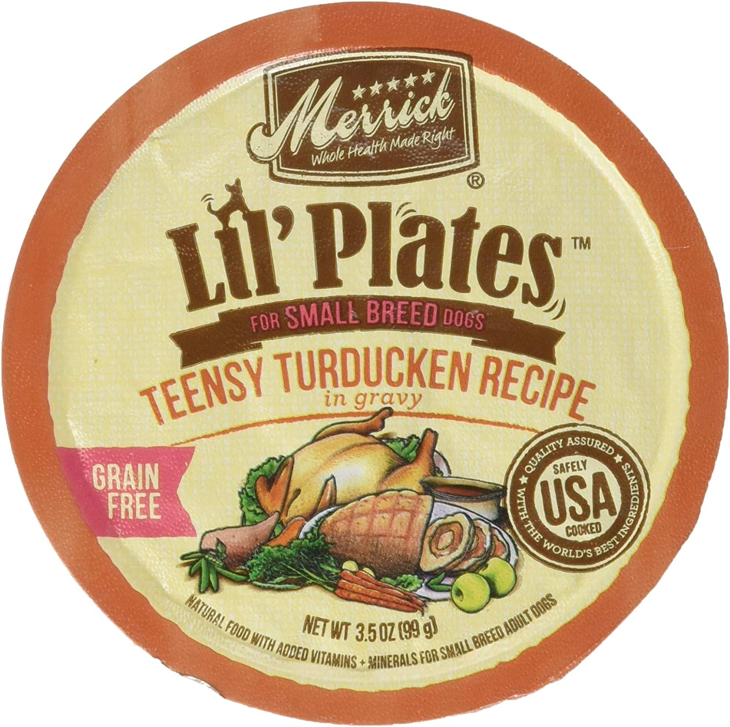 Simple Solution Merrick Lil's Plates 3.5-Oz Grain Free Wet Food for Small Breed Dogs12 Cans - Teensy Turducken in Gravy