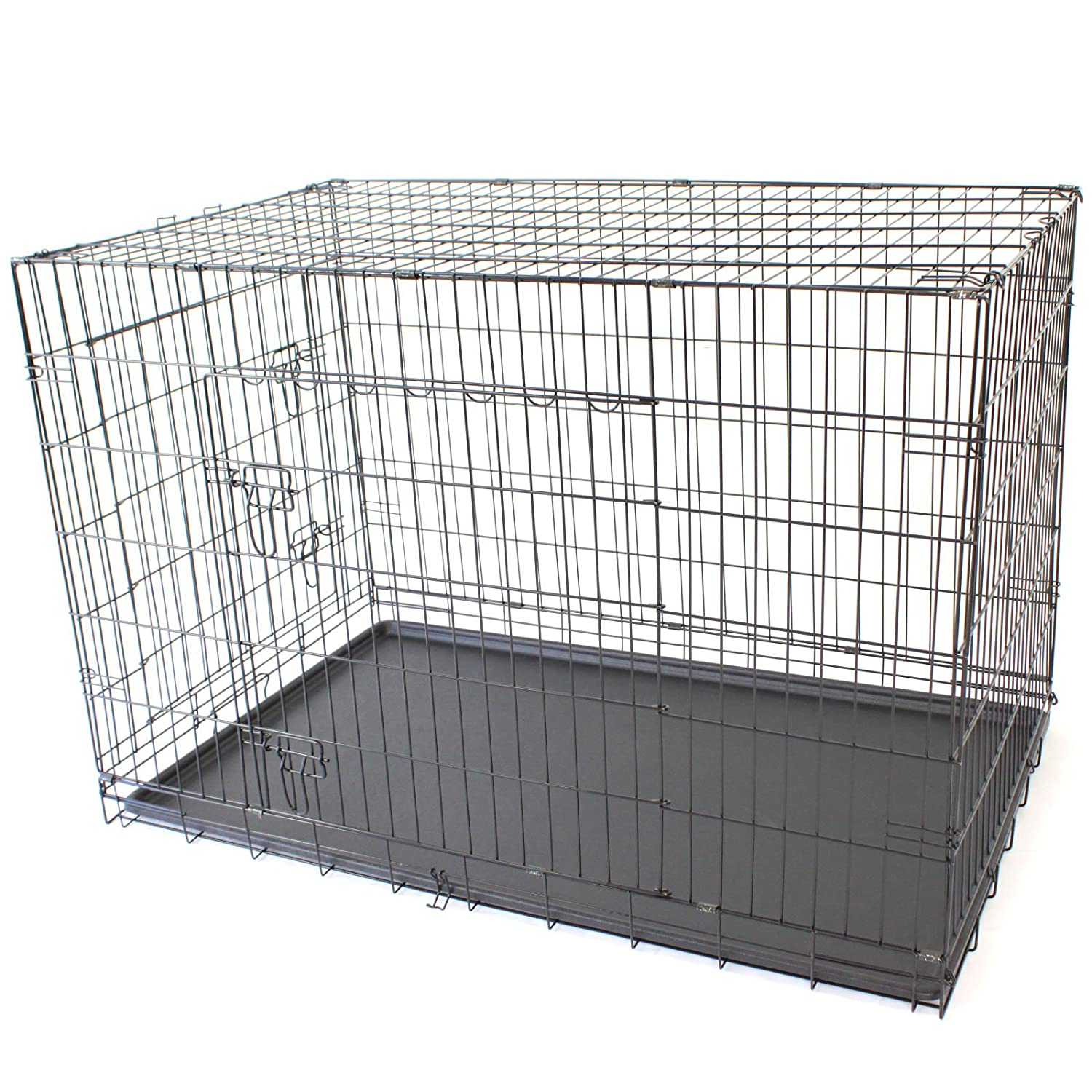 48  XXL Double X-Large Pet Dog Crate Metal Folding Cage Portable Kennel House Training Puppy Kitten Cat Rabbit