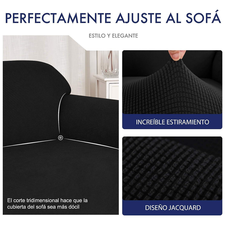subrtex 1 Pieza Funda de Sofá Poliéster Elástica Cubierta de Asiento Forro de Sofá Doméstica (2 Plazas, Negro)