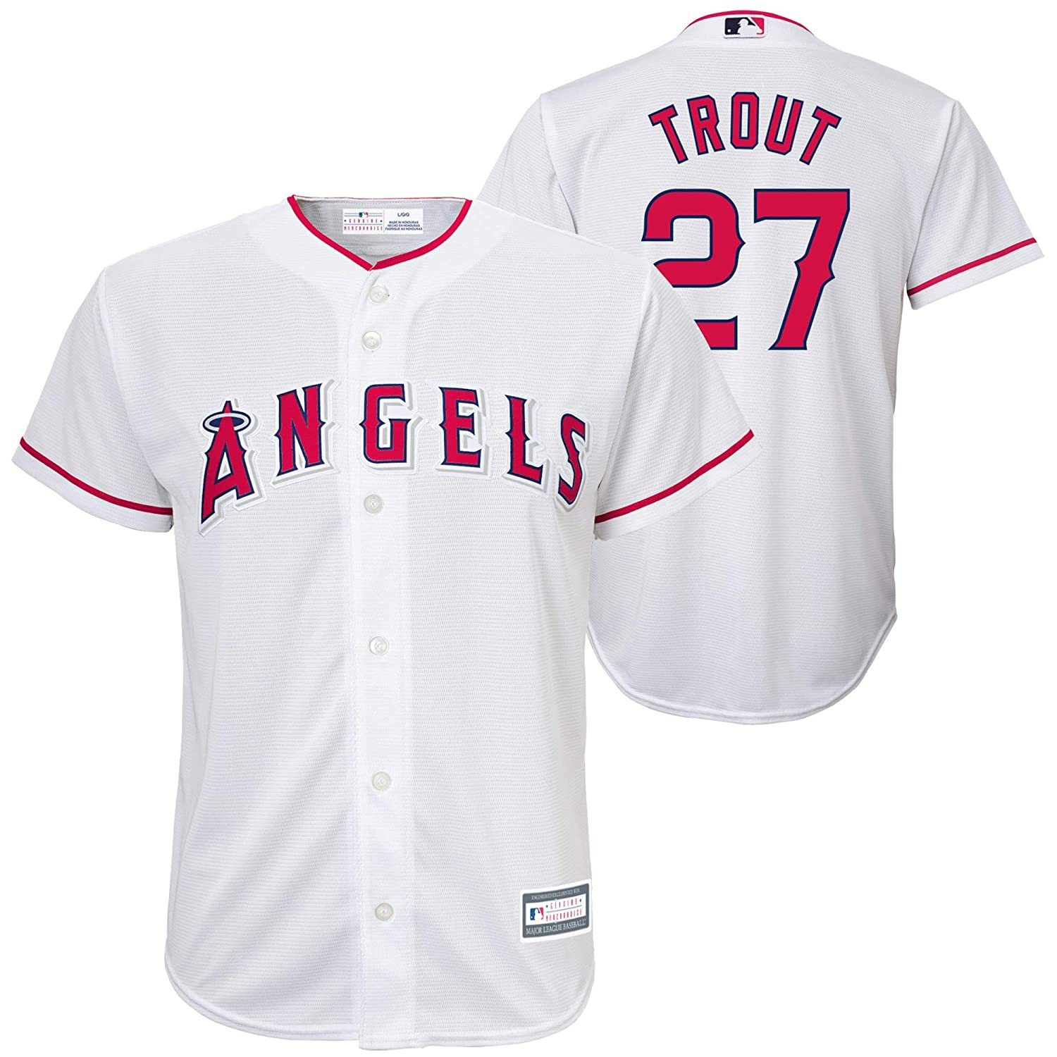 1e3b6aafb Amazon.com  Mike Trout Los Angeles Angels White MLB Youth Replica Jersey  (Large 14 16)  Clothing