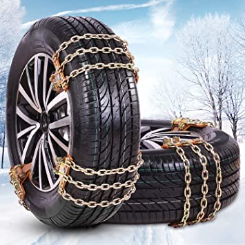 Amazon Com Fun Driving Tire Chains Snow Chains For Car Light Suv Of Tire Width 165 226mm 6 5 8 9 Inch Heavy Duty Thickened Adjustable Durable 6 Pack Automotive