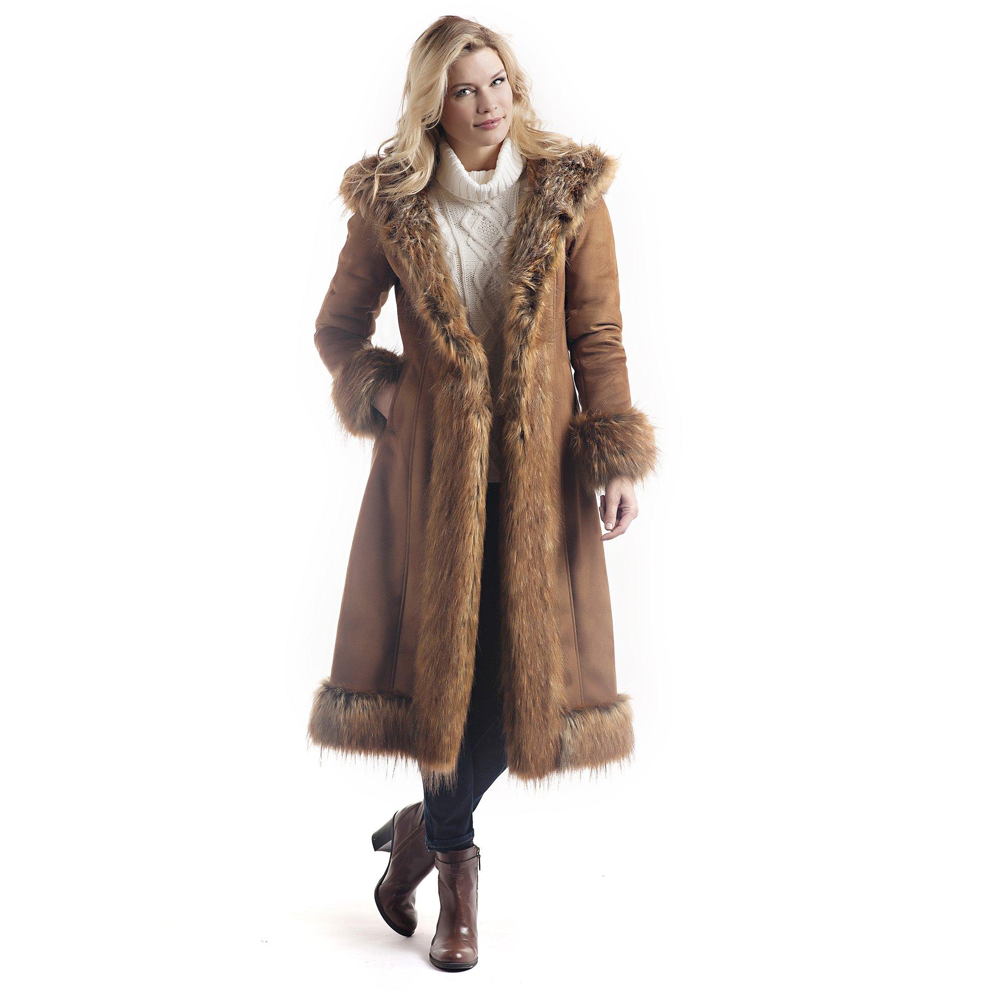 Donna Salyers' Fabulous Furs Women's Faux Suede/Fur Full-Length Coat, Tobacco, Extra Large