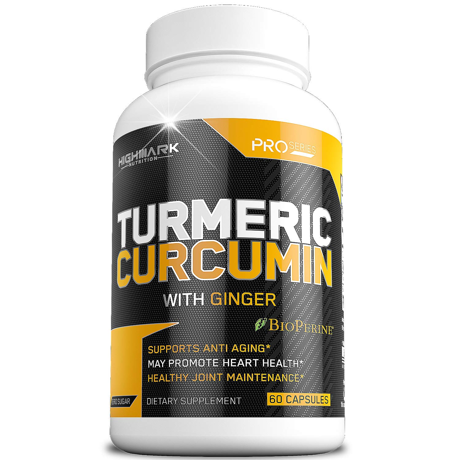 HighMark Nutrition Turmeric Curcumin with Bioperine & Ginger Anti-Inflammatory & Anti-Aging Dietary Supplement for Joint Pain Relief, Injury Recovery & Cardiovascular Health 60 Veggie Capsules