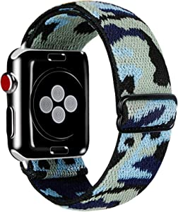 Kraftychix Adjustable Elastic Watch Band Compatible with Apple Watch 38mm/40mm,Soft Stretch Bracelet Women Strap Replacement Wristband for Iwatch Series SE/6/5/4/3/2/1(Camo,38MM/40MM)
