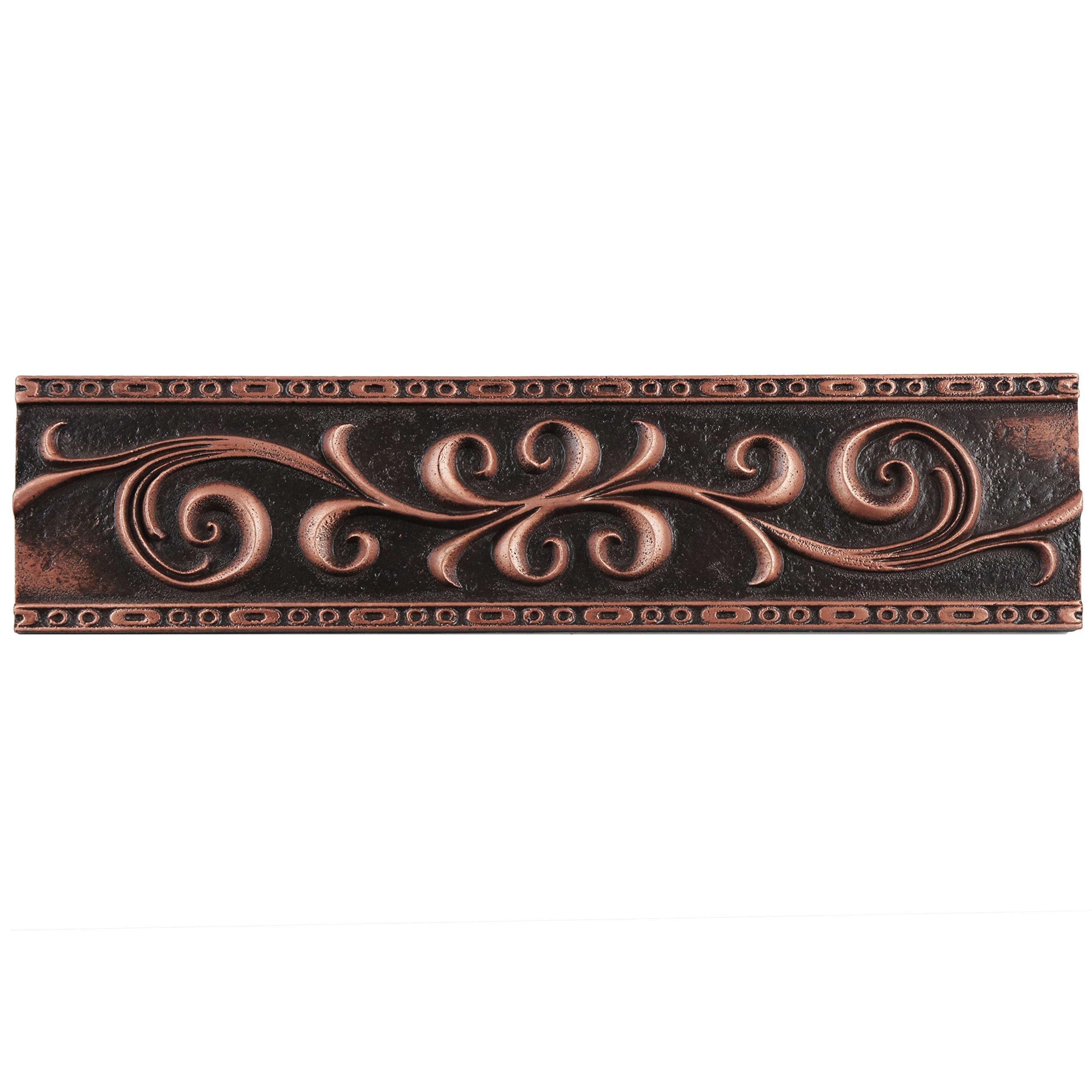 SomerTile WGMSVBRL Denbora Scroll Metallic Liner Wall Trim Tile, 3'' x 12'', Bronze