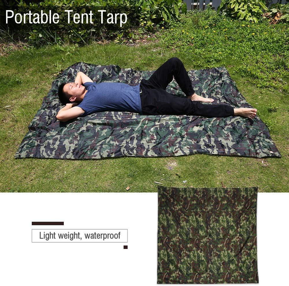 2 * 1.5m Qiilu Camuflaje al Aire Libre port/átil Ligero Impermeable Mat RainTent Tarp Shelter