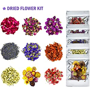YoleShy Dried Flowers, Natural Dried Flower Herbs Kit for Bath, Soap Making, Candle Making - 9Bag Include Dried Lavender, Rose Petals, Jasmine Flower, Gomphrena Globosa and More