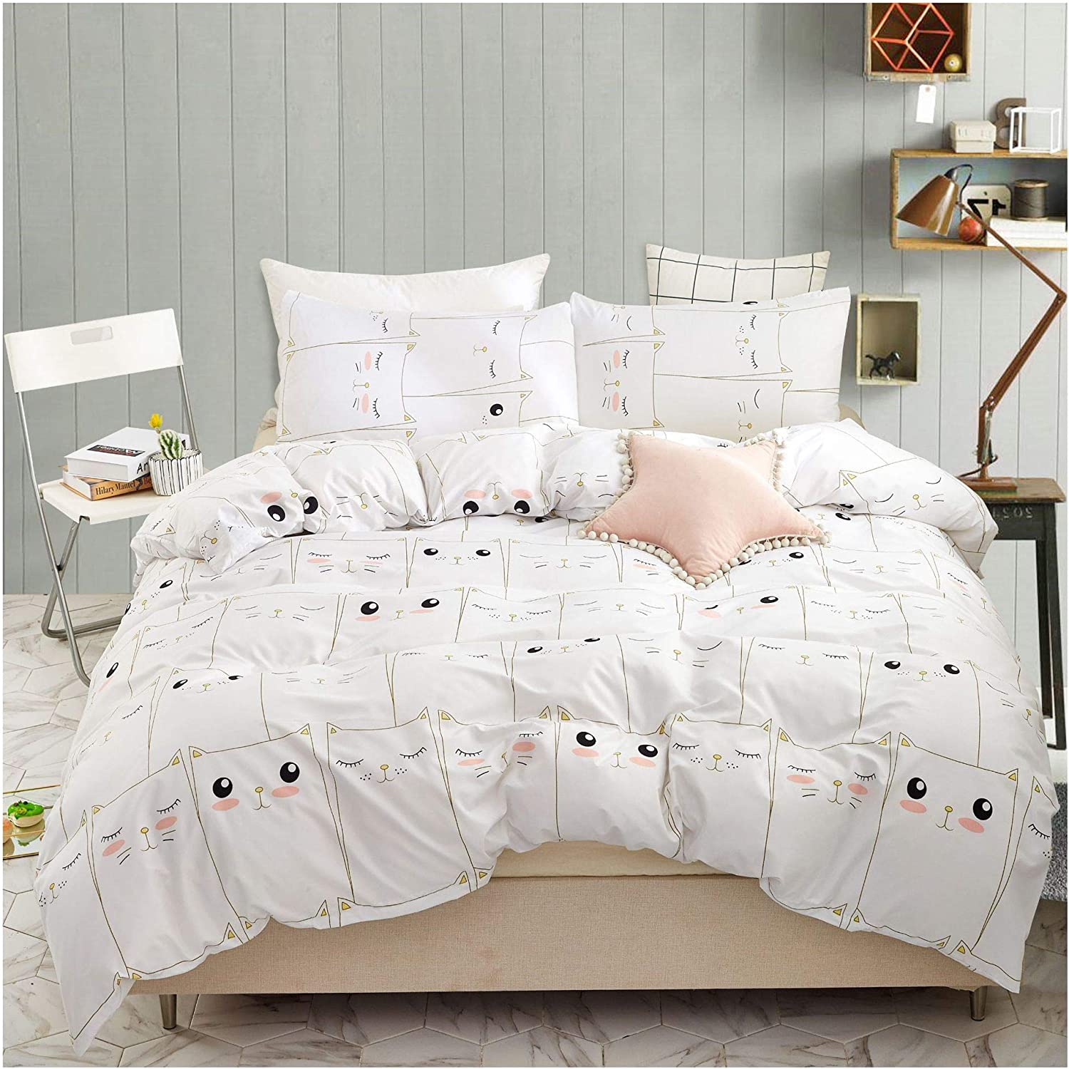 YZZ COLLECTION Kids Twin Bedding Duvet Cover Set,Premium Microfiber,Mini Cats Pattern On Comforter Cover-2pcs:1x Duvet Cover 1x Pillowcases,Comforter Cover with Zipper Closure (Twin)