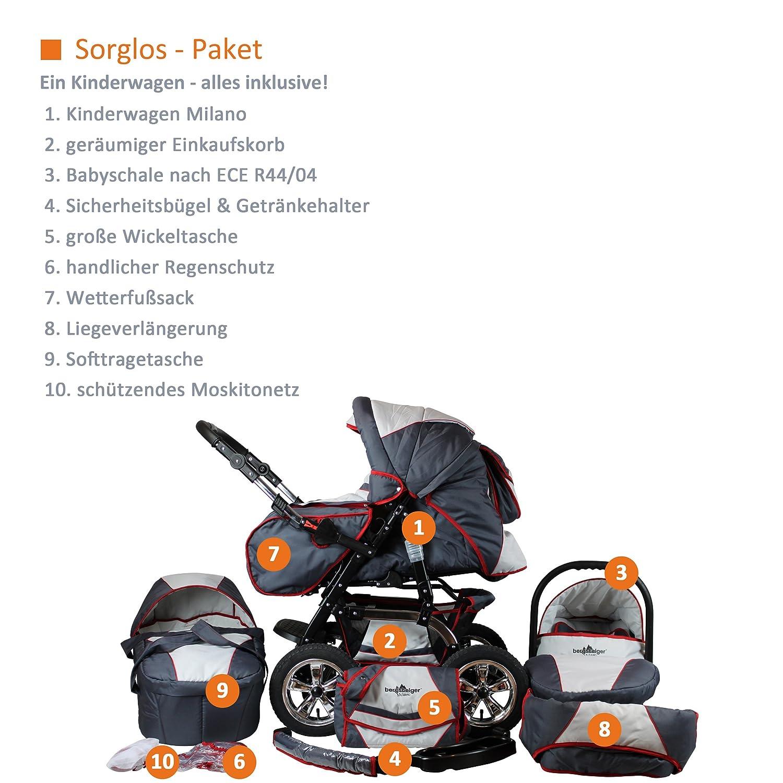 Bergsteiger Milano Kombikinderwagen Autositz mit Travelsystem Megaset 10 - teilig