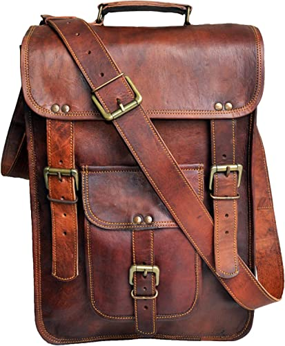All Leather Messenger Bag Computer Distressed Brown Satchel Briefcase