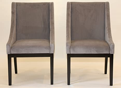 Surprising Home Life Contemporary Microfiber Modern Sofa Arm Chairs Set Of 2 Grey Machost Co Dining Chair Design Ideas Machostcouk