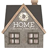 P Graham Dunn Home is The Nicest Place There is Grey 6 x 6 Wood Shaped Tabletop Plaque