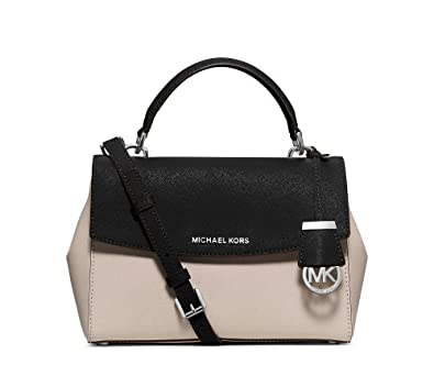 5e36aa7f950f MICHAEL MICHAEL KORS Ava Small Saffiano Leather Top Handle Crossbody Satchel  Cement Black