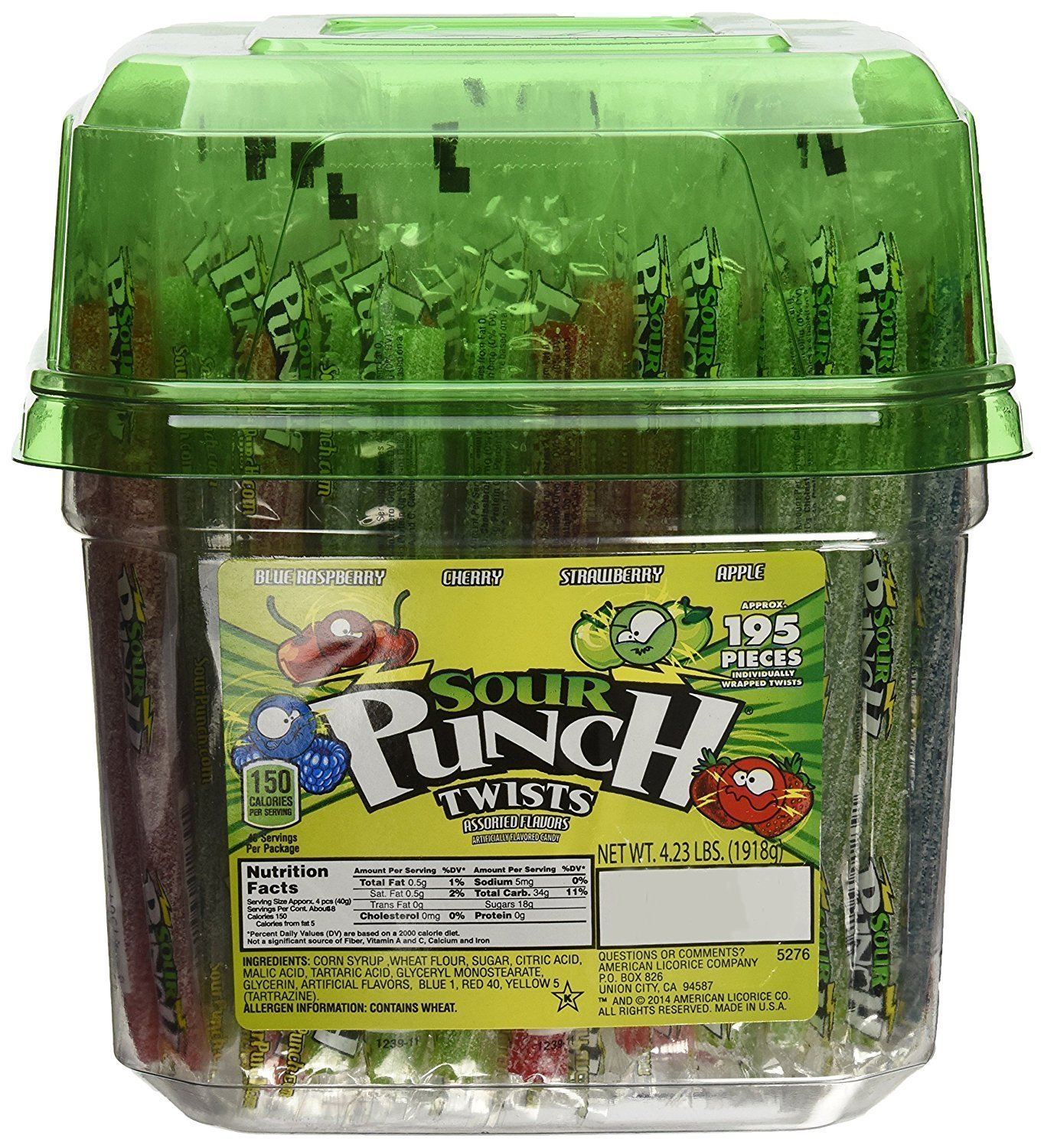 "Sour Punch  6"" Individually Wrapped Assorted Flavors Sour Twists, 4.23-LB Tub"