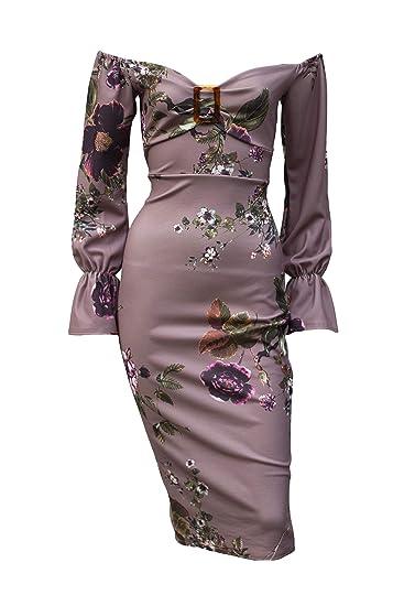Aarzoo Femme Imprimé Floral Bardot Épaule Froide Manches Longues Bodycon  Stretch Robe Midi Longueur Genou Détail 0a85080ff12