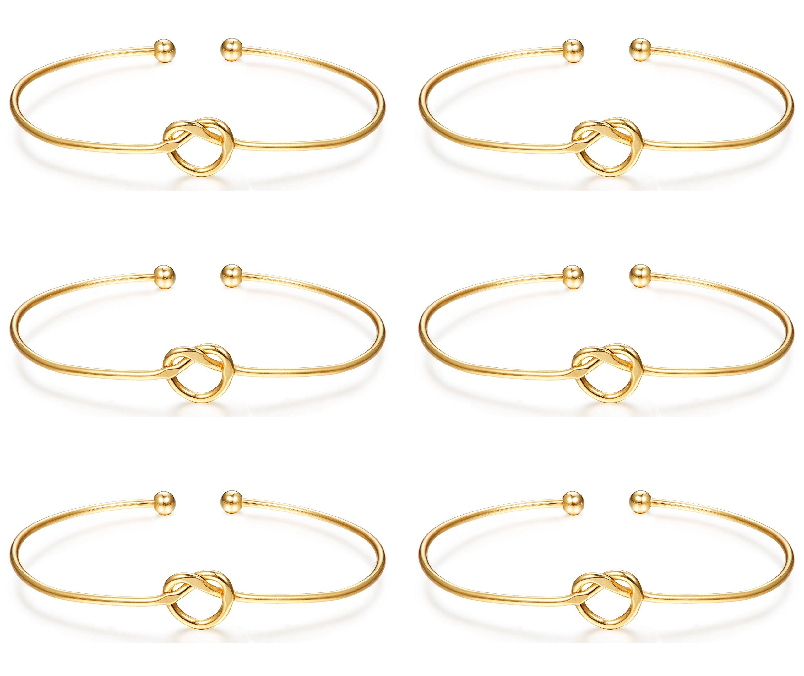 LOLIAS 6 Pcs Love Knot Bangle Bracelets Simple Cuffs Bracelets for Women Girls Stretch Bracelets Adjustable Gold-tone