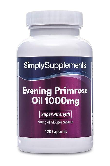 Aceite de Onagra 1000mg - 120 cápsulas - Hasta 4 meses de suministro - Para la