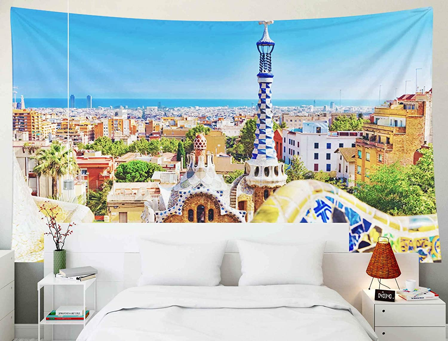 TOMWISH Tapestry Wall Hanging, Tapestries Decoration Hanging Wall Bedroom and Home Décor Dorm Spain Sept 022014 Gorgeous and Amazing Park Guel in Barcelona Guell 1914 is The Famous 80x60 Inch