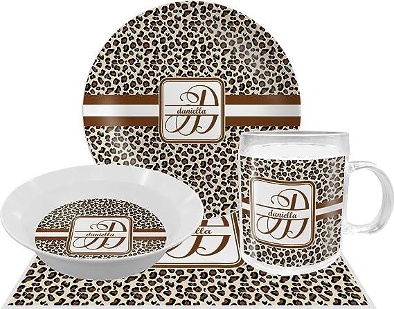Amazon Com Leopard Print Dinner Set 4 Pc Personalized Dinnerware Sets