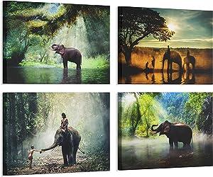 4 Panels Elephant Walking in The Forest Canvas Wall Art Painting Landscape Print Framed Artwork Modern Home for Living Room Bathroom Bedroom (Elephant, 8x12inchx4pcs)