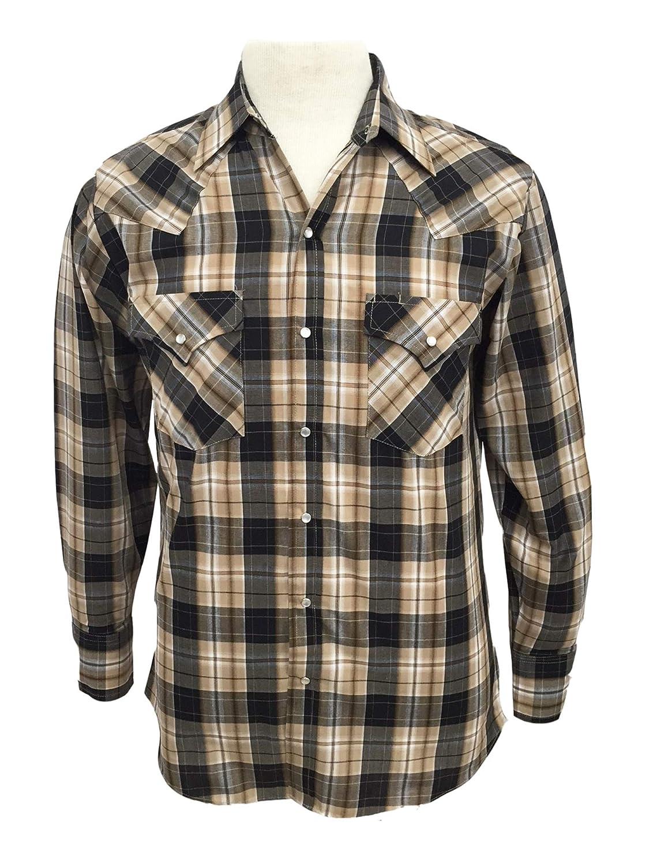 c76a1c6d91d Amazon.com  Ely Cattleman Mens Tall Long Sleeve Textured Plaid Snap Western  Shirt - Khaki  Clothing