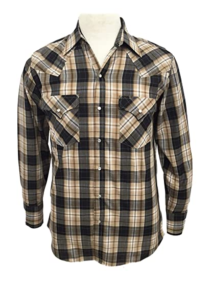 ea067895 Amazon.com: Ely Cattleman Mens Tall Long Sleeve Textured Plaid Snap ...