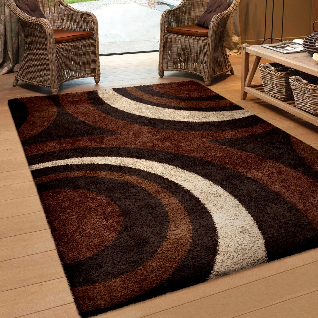 Orian Rugs Geometric Fire Hole Brown Area Rug (5'3 x 7'6) WSG/RIFI/83MC/160x230
