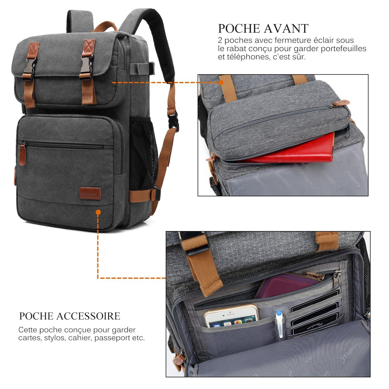 5f643b4e93 Srotek Sacoche Ordinateur Portable Convertible Sac Bandoulière Sac à Dos et  à Main Porte-Documents Agrandir l'image