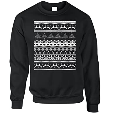 54806e5f0aca Tim And Ted Christmas Sweatshirt Xmas Ugly Sweater Pattern Black X-Small