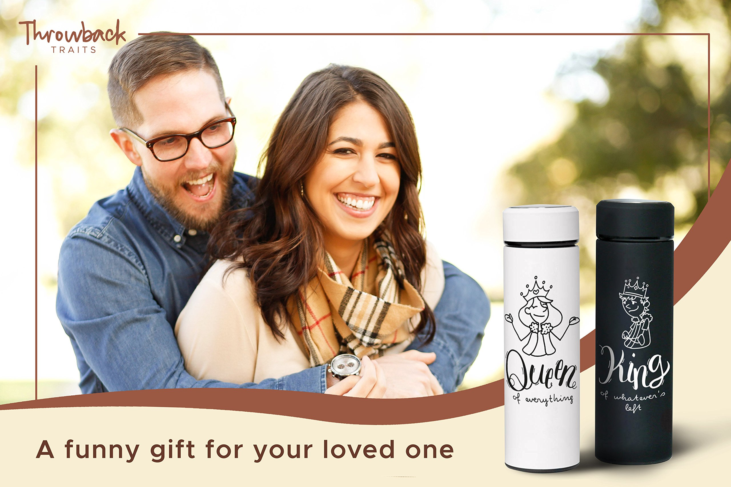 funny wedding gifts for the couple king and queen personalized thermo set engagement gifts or bridal shower gifts for couples great christmas gift