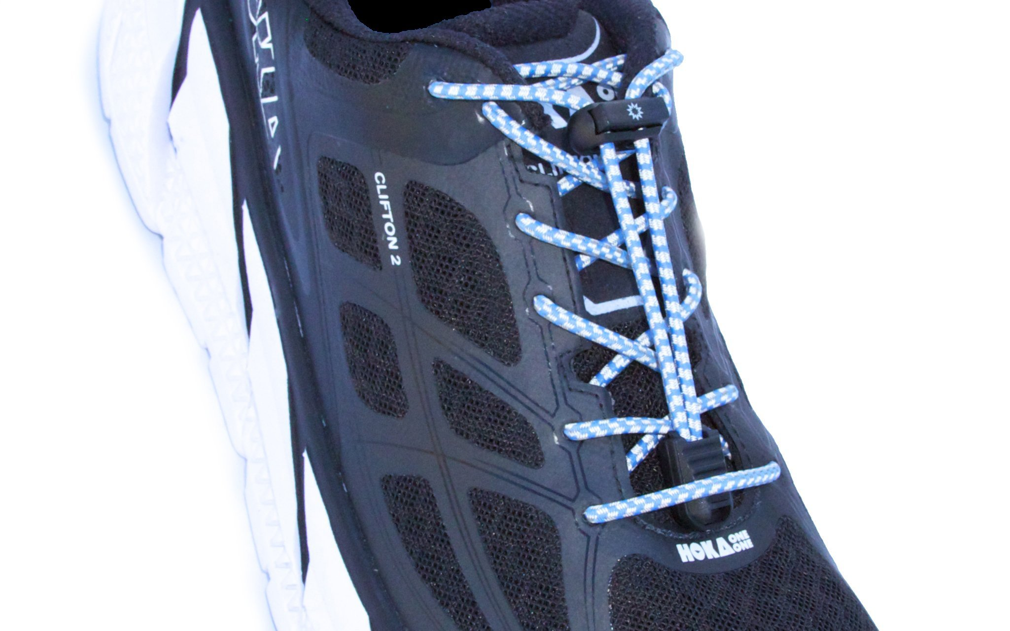 BoomLaces ''Laces With Power'' Compression Stretch Elastic Athletic Travel No Tie Shoelaces With Lock. For Kids, Women, Men. Shoe Laces Lock For Comfort, Security, Safety(Reflective Blue/Gray)