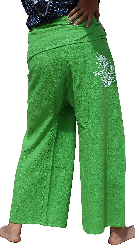 Raan Pah Muang RaanPahMuang Chinese Good Luck Dragon Woodblock Print Cotton Fisherman Pants Medium White item336890AMZ