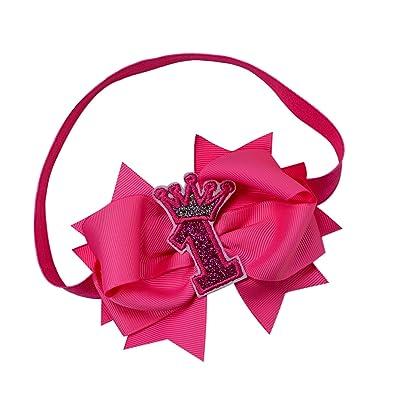 1st Birthday HANDMADE Elastic Headband with Glitter Crown 4.5 inch Bow