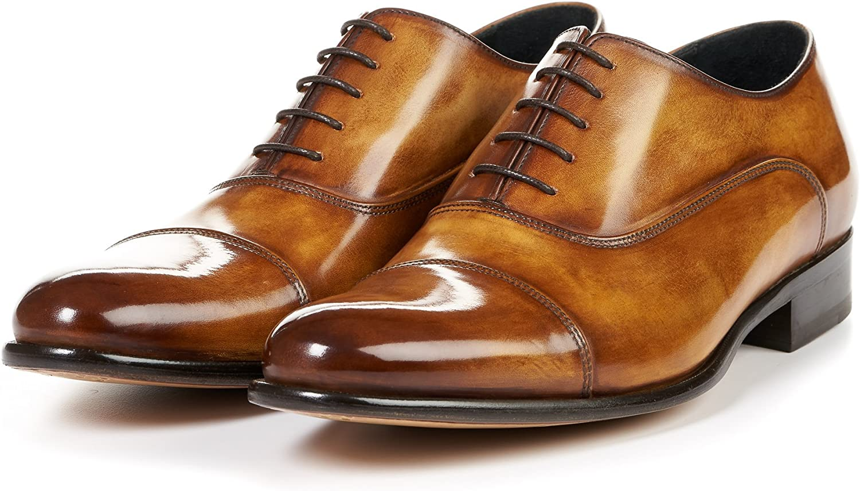 Mario Calugi ITALY Men 9.5 M Vintage Italian Black Leather Cap Toe Oxfords
