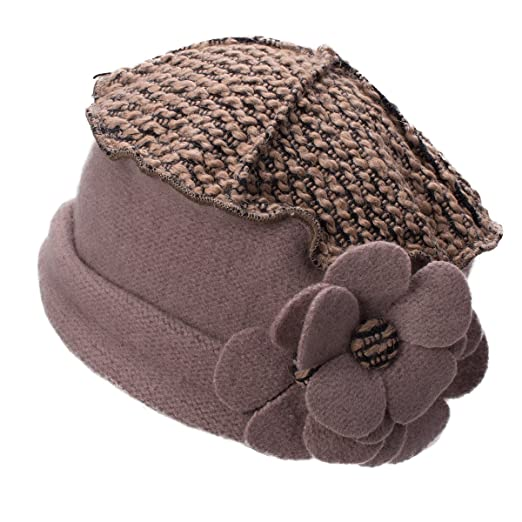 Image Unavailable. Image not available for. Color  Lawliet Flower Trimmed Womens  Wool Beanie Cap Dress Crochet Hat ... 848fc2d2cc6a