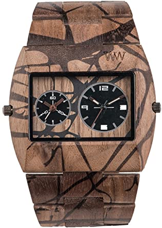 c539ae3b27f3 Amazon.com  WEWOOD watch Wood   wooden JUPITER TREE NUT Dual Time ...
